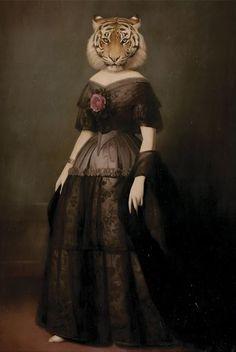Die Witwe Des Rauchgasse by Stephen Mackey Lowbrow Art, Arte Pop, Pop Surrealism, Animal Heads, Surreal Art, Dark Art, Pet Portraits, Art Images, Painting Prints