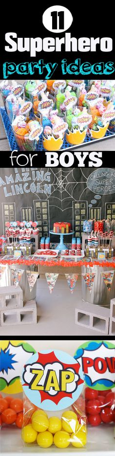 11 Superhero Party Ideas for BOYS. Free printables, decor tips and much much more. By Paige's Party Ideas.