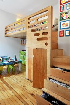 Child's room idea: Off the floor bed, drawers in stairs, built-in closet underneath the bed, and plenty of space to play