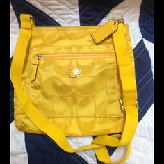 Fabulous canary yellow coach cross body Perfect for spring/summer this nylon coach bag is a great pop of color, in excellent condition only carried a few times, just need to lighten the purse load! Coach Bags Crossbody Bags