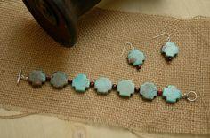 Southwestern Jewelry Cross Bracelet Blue by AmbientAtelier on Etsy