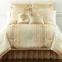 Florence Jacquard Comforter Set & Accessories found at Ivory Bedroom, Master Bedroom, Bed Curtains, Yellow And Brown, Bed & Bath, Comforter Sets, Homemaking, Florence, Guest Room