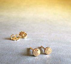 Tiny post earrings. Minimalist jewelry 14k Gold by PoseidonsBooty