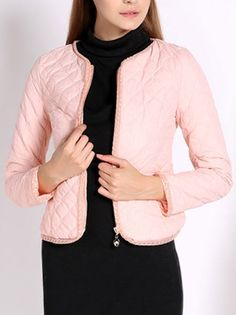 O-Neck Long Sleeve Zippered Slim Leisure Jacket Women Clothing on buytrends.com