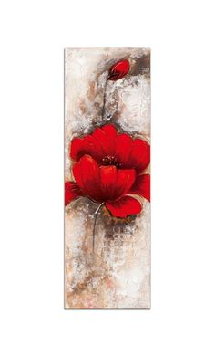 FLEURS Toile verticale Rouge Acrylique 30x90 - Pierimport
