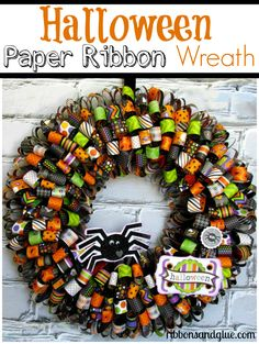 All you need to make this Halloween Paper Ribbon Wreath is Halloween paper hot…