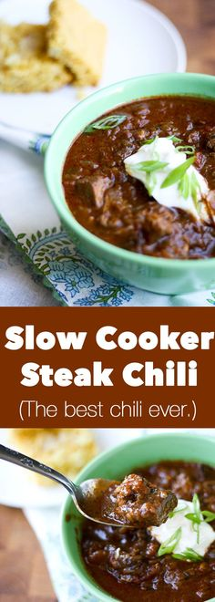 This is the best chili I've ever eaten! | crock pot recipes | chili recipes | slow cooker recipes | perrysplate.com