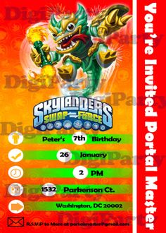 Items Similar To SKYLANDERS Birthday Invitation Swap Force Personalized Party Custom Same Day Service Print Your Own