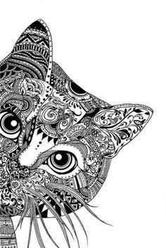 Zentangle cat head shape