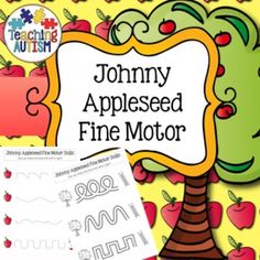 Johnny Appleseed Fine Motor Skill Worksheets Pre-Handwriting Practice  These worksheets are great for improving fine motor skills / pre handwriting practice for students.   The worksheets are all linked to the Johnny Appleseed theme, each worksheet also comes in black and white or color option.
