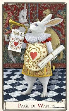 alice tarot, page of wands, harbinger of joy and good news, could indicate gossip