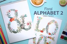 New floral alphabet. Combine the letters and create lovely ebooks, banners, headers, invitations, cards and more. There´s a lot of possibilities! What do you get?  The set includes 1 Illustrator EPS vector file 37 PNG files (the alphabet + numbers) with transparent backgrounds (2000x3000 px aprox, 300dpi). Each element on an individual png with transparent background.  Thanks so much for looking and please let me know if you have an