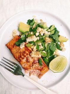 Lunchtime inspiration: Honey-Habanero Salmon with Corn & Avocado Salad.