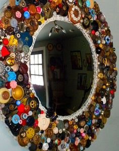 crazy diy mirror! not bad for buttons