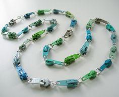 Vintage zipper necklaces  #Jewelry, #Necklace, #Zipper