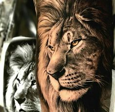 Lion tattoos hold different meanings. Lions are known to be proud and courageous creatures. So if you feel that you carry those same qualities in you, a lion tattoo would be an excellent match Wolf Tattoos, Lion Head Tattoos, Elephant Tattoos, Animal Tattoos, Body Art Tattoos, Tatoos, Lion Chest Tattoo, Maori Tattoos, Tattoo Ink