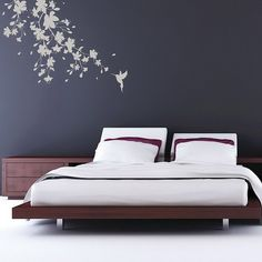 Bedroom Ideas with Sakura Blossoms Wall Decals