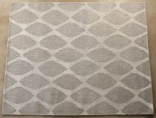 RUG267 8' x 10' Taupe and Antique White Honeycomb Pattern Rug