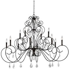 """Feiss Angelette 50"""" Wide Bronze Steel 12-Light Chandelier ($1,299) ❤ liked on Polyvore featuring home, lighting, ceiling lights, decor, brown, chandeliers, bronze lamp, bronze lighting, feiss and bronze candelabra"""