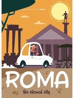 'Roma travel poster' Art Print by Gary Godel Fun Facts For Kids, Art Deco Posters, Children's Picture Books, Art For Art Sake, Amazing Adventures, Illustrations And Posters, Vintage Travel Posters, Awesome Things, Book Illustration