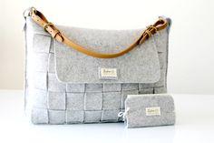 Messenger bag / Felt bag / Felt grey bag / Weave felt bag / Tote bag / organizer bag by Lefrac on Etsy https://www.etsy.com/listing/184463876/messenger-bag-felt-bag-felt-grey-bag