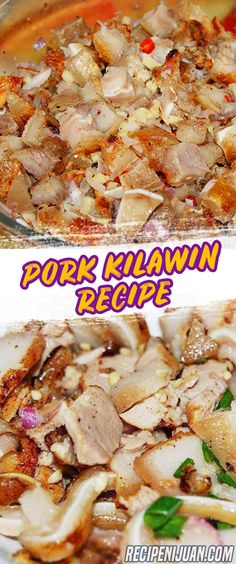 Kilawin is a dish made from raw innards of Pork, Carabao, Cow, Goat or Seafood depending on where it is in the Philippines. Below is a Pork Kilawin recipe. Pork Liver Recipe, Chicken Liver Recipes, Pork Belly Recipes, Pork Chop Recipes, Filipino Dishes, Filipino Recipes, Asian Recipes, Ethnic Recipes, Filipino Food