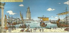 The Pharos (lighthouse) and port of Alexandria during the reign of Ptolemy I ~ Rafael Morales