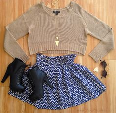 fall fashion, #ootd , booties, skirt, crop sweater
