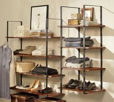 Really love these closet wall shelves from Pottery Barn.  I wonder if I could replicate them somehow...