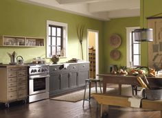 Green Paint, Hearts of Palm Sherwin Williams, Love with the Grey Cabinets