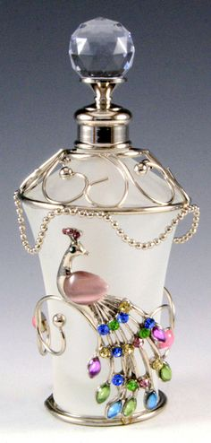 Peacock Pearl Floral Glass Perfume Bottle