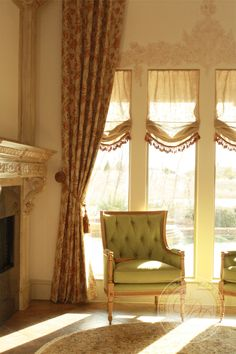 Tall drapes - Fabulous look with the stenciled detail on the wall  <3