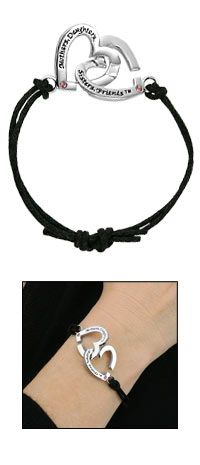 Mothers Daughters Sisters Friends™ Double Heart Bracelet at The Breast Cancer Site