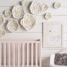 Moving her flowers around!Create a chic, comforting space for your little darling with subtle statement pieces and a soft color palette. White Nursery, Girl Nursery, Nursery Decor, Nursery Ideas, Bedroom Ideas, Room Decor, Mirror Wall Art, Metal Wall Art, Hobby Lobby Wall Decor