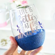 Life Is Better At The Lake Glitter Wine Glass / Memorial Day Lake Wine Glass / Lake Life Wine Glass / Glitter Dipped Wine Glass / Lake Cup by TwinkleTwinkleLilJar on Etsy https://www.etsy.com/listing/528960707/life-is-better-at-the-lake-glitter-wine