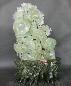 "17"" Chinese soapstone Xiu Green Jade Tree Ru Yi Flower Bird Auspicious Statue"