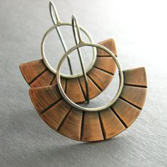 Mixed Metal Earrings - Egyptian Sunburst Copper And Sterling Silver Artisan Jewelry