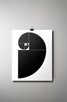 Golden spiral print: M Street studio black and white wall art