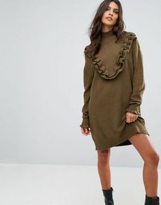 Vero Moda Sweater Dress With Ruffle Detail Jumper Dress, Shirt Dress, Ruffle Dress, Ruffles, Danish Fashion, Going Out Dresses, Latest Fashion Clothes, Fashion Online, Dress Outfits