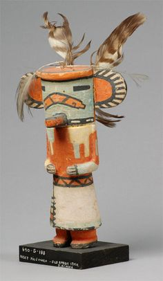 Puutskohu, circa 1930. The Puutskohu katsina, also known as the Rabbit Stick kachina, brings the art of hunting to men. Collected by John L. Nelson.