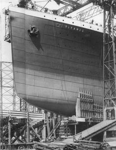 The Titanic in her berth while being built. Keel laid in 1907 and finished in 1911, Titanic was the largest ocean liner in the WORLD until she sunk on her maiden voyage in 1912, taking fifteen hundred souls down with her.