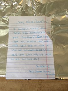 Jackass husband loves Rice Krispies but can't spell them right in an apology letter to his wife, SMH (kidding)