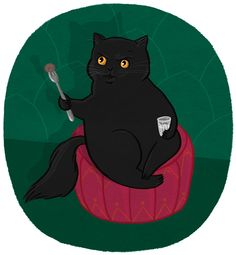 Behemoth the Cat by Kris Atomic Black Cat Art, Black Cats, The Master And Margarita, Beloved Book, Cat Hat, Cat Boarding, Creature Comforts, Grey Cats, Domestic Cat