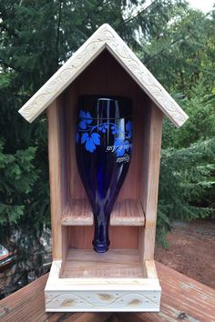 Redwood Wine Bottle Bird Feeder by Brownswoodgifts on Etsy