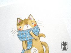 Cat in scarf  winter art  cute cat illustration  by Adelaida