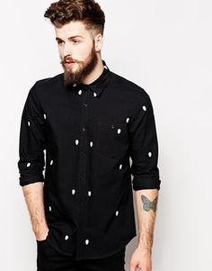 ASOS Halloween Shirt In Long Sleeve With Skull Embroidery -  This subtle pattern is a more sophisticated take on a skull shirt. It'll look great with black jeans and blazer. http://asos.do/2PhdQ1