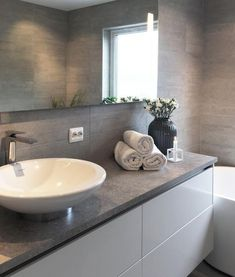 Grey Bathroom Renovation Ideas: bathroom remodel cost, bathroom ideas for small bathrooms, small bathroom design ideas Bathroom Renos, Grey Bathrooms, Bathroom Wall Decor, White Bathroom, Bathroom Renovations, Modern Bathroom, Bathroom Ideas, Stone Bathroom, Bathroom Vanities