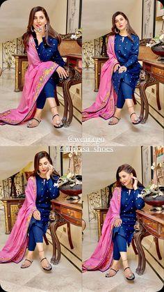 Pakistani Bridal Dresses, Pakistani Dress Design, Wedding Dresses For Girls, Girls Dresses, Stylish Dresses, Fashion Dresses, Women's Fashion, Blue Colour Dress, Indian Photoshoot