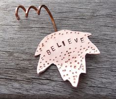 Autumn maple leaf ornament made from copper by DreamofaDream