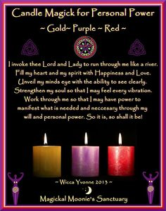 Candle Magick For Personal Power - Gold - Purple - Red Candle Magick For Personal Power - Gold - Purple - Red